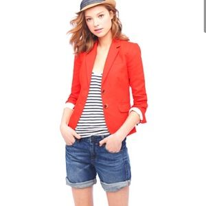 J Crew Linen Schoolboy Blazer Jacket Orange 12 L